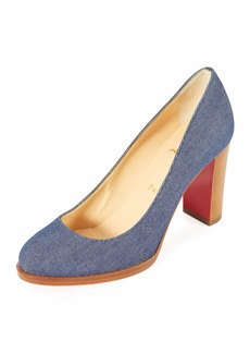 Christian Louboutin London Buche Block-Heel Denim Red Sole Pump
