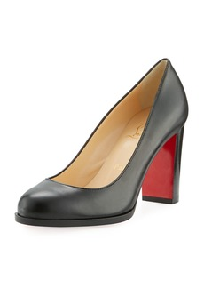 Christian Louboutin London Buche Block-Heel Napa Red Sole Pump
