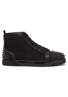 Christian Louboutin Lou spike-embellished leather high-top trainers