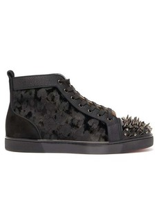 Christian Louboutin Lou spike-embellished suede high-top trainers
