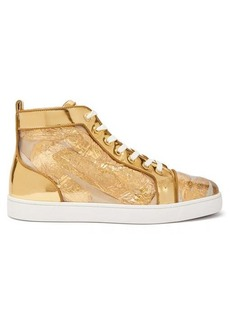 Christian Louboutin Louis foil-embellished high-top leather trainers