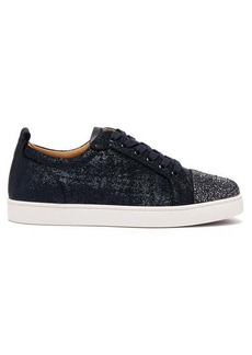 Christian Louboutin Louis Junior crystal-embellished lamé trainers