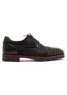 Christian Louboutin Luis spike-embellished neoprene derby shoes