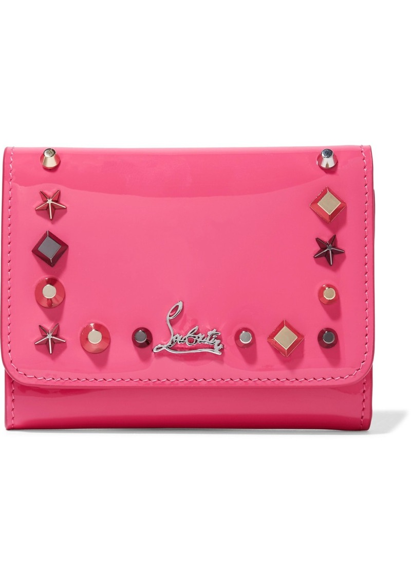 bd4cdf441ad Macaron spiked patent-leather wallet