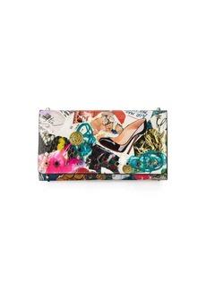 Christian Louboutin Macaron Trash-Print Flap Wristlet Wallet