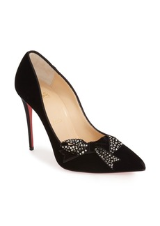 Christian Louboutin 'Madame Menule' Embellished Bow Pointy Toe Pump