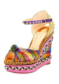 Christian Louboutin Madcarina Knotted Spiked Wedge Espadrille Sandal