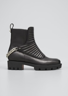 Christian Louboutin Maddic Max Quilted Chain Red Sole Booties