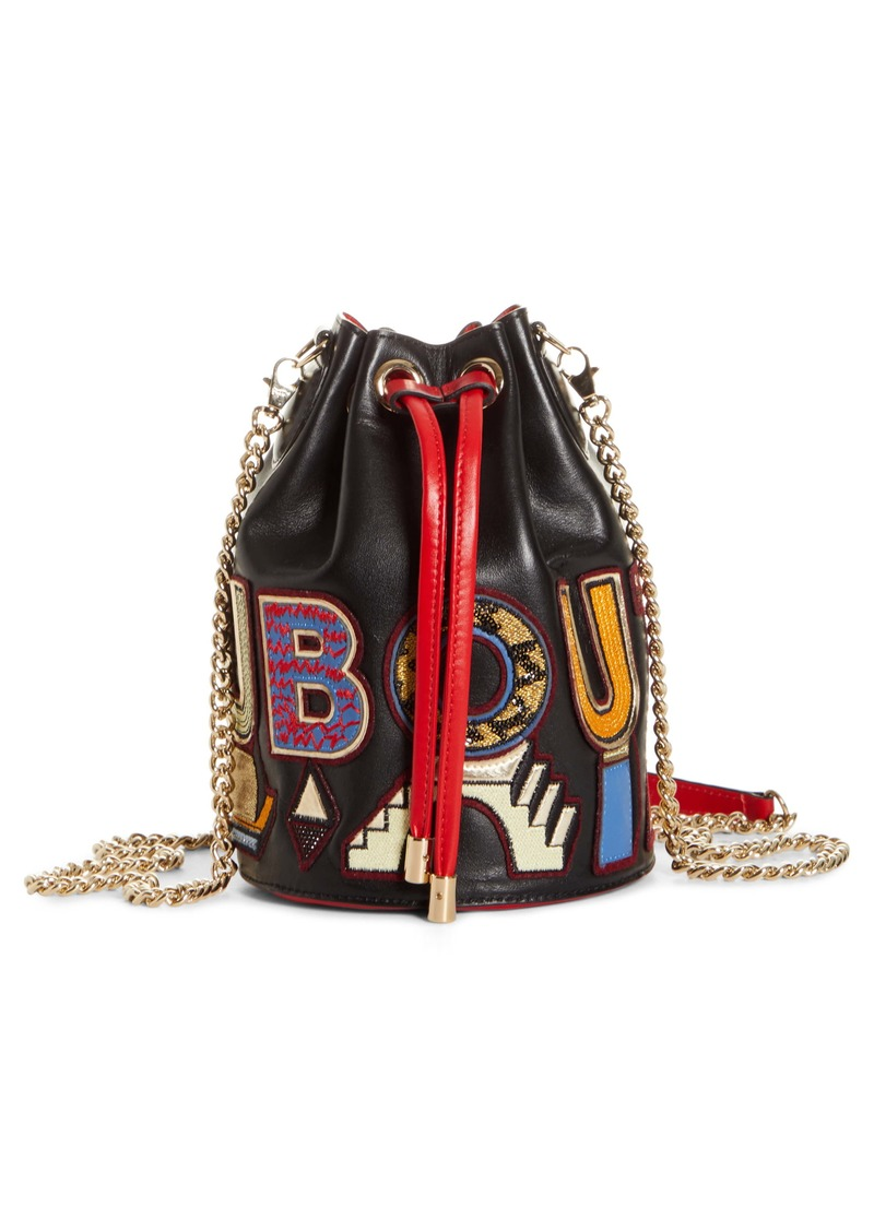 Christian Louboutin Marie Jane Alpha Embroidered Calfskin Leather Bucket Bag (Nordstrom Exclusive)
