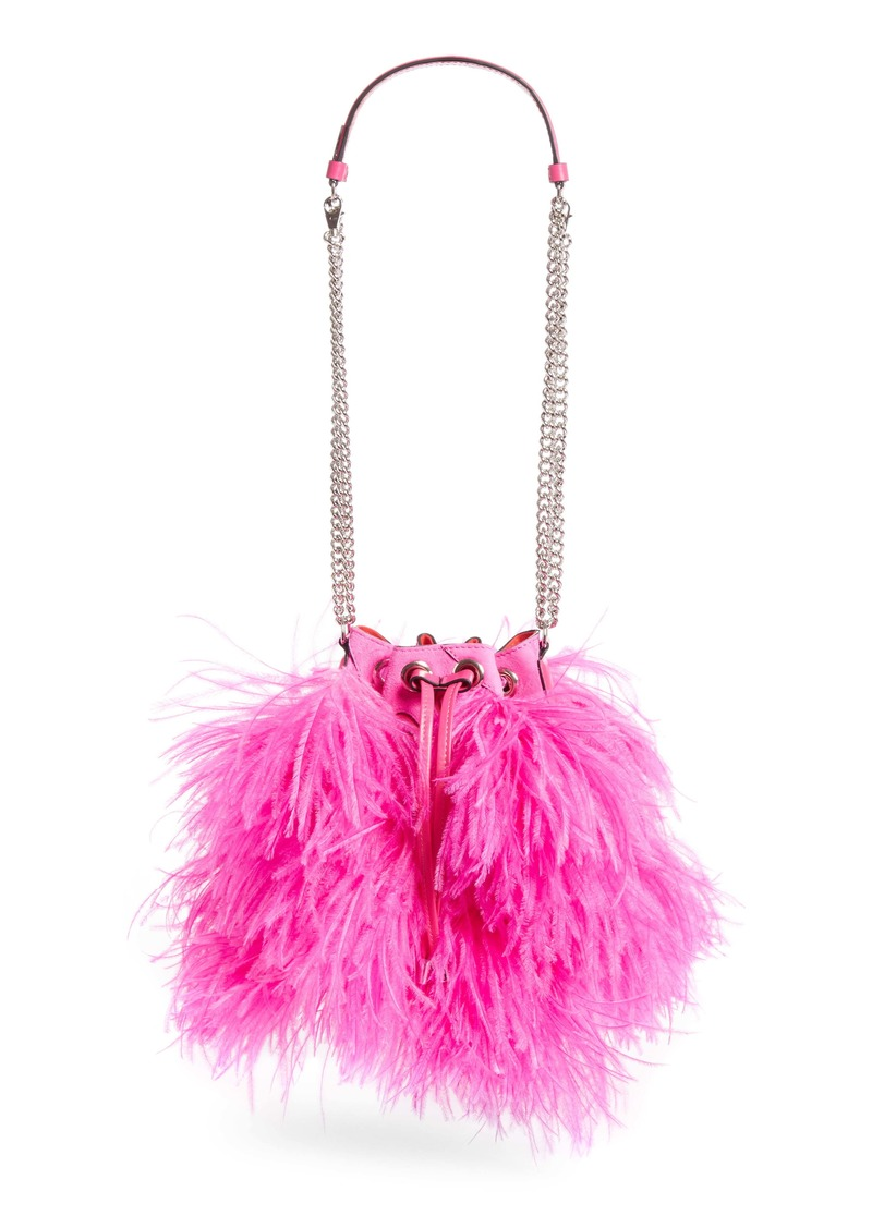 Christian Louboutin Marie Jane Ostrich Feather & Calfskin Bucket Bag