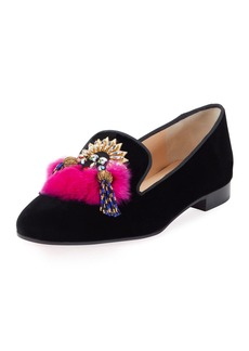 Christian Louboutin Mayamoc Fur-Detail Velvet Red Sole Loafer