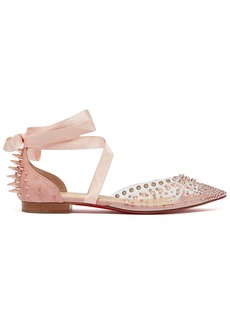 Christian Louboutin Mechante Reine crystal and stud-embellished flats
