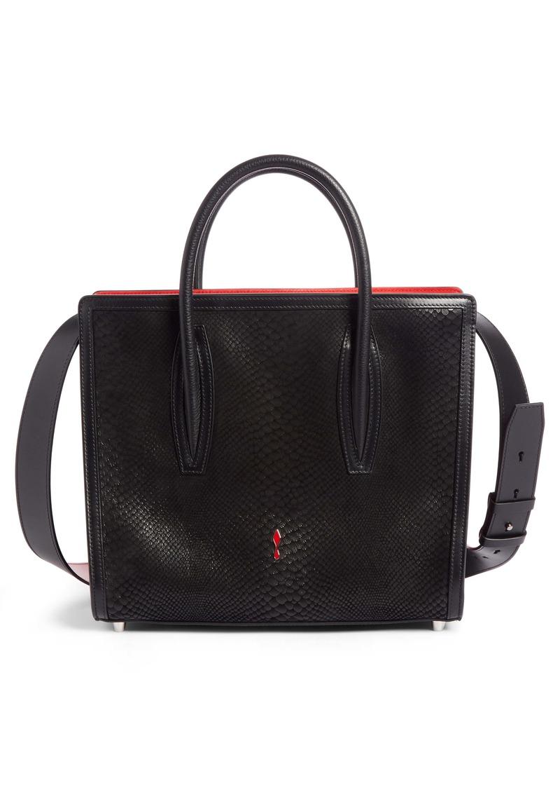 Christian Louboutin Medium Paloma Snakeskin Embossed Leather Satchel