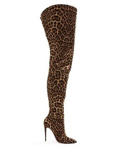Christian Louboutin Metrolisse 100 leopard-print over-the-knee boots