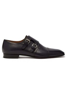 Christian Louboutin Mortimer monk-strap patinated leather shoes