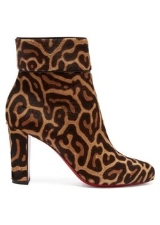 Christian Louboutin Moulamax 85 leopard-print pony-hair ankle boots