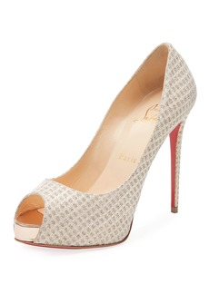Christian Louboutin New Very Prive Lurex Platform Red Sole Pump