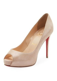 Christian Louboutin New Very Prive Peep-Toe Red Sole Pumps