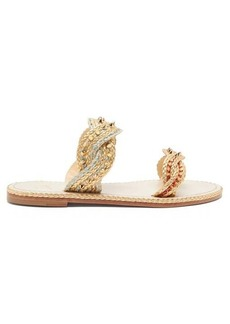 Christian Louboutin Normandie braided-strap leather slides
