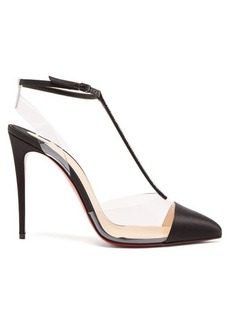 Christian Louboutin Nosy 100 T-bar satin and PVC pumps