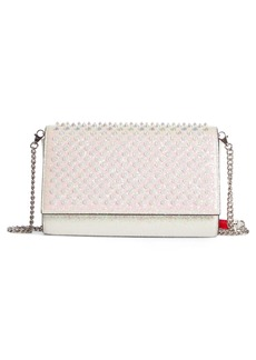 Christian Louboutin Paloma Glitter Spike Calfskin Leather Clutch