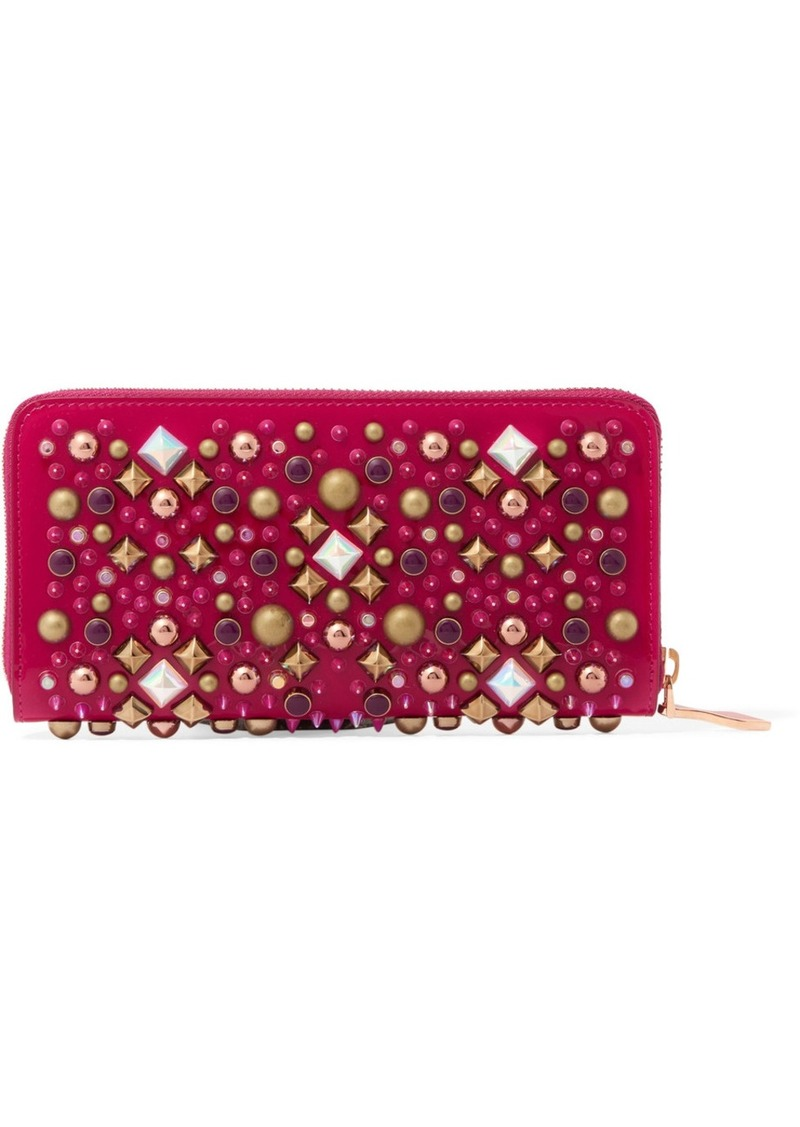 6e316e6a77 Christian Louboutin Panettone Embellished Patent-leather Continental Wallet