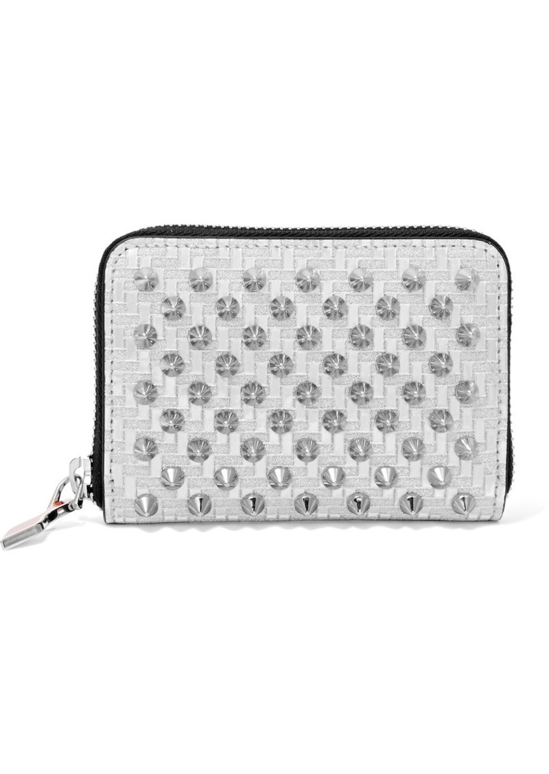 3d892204e7 Christian Louboutin Panettone Spiked Glittered Metallic Leather Wallet