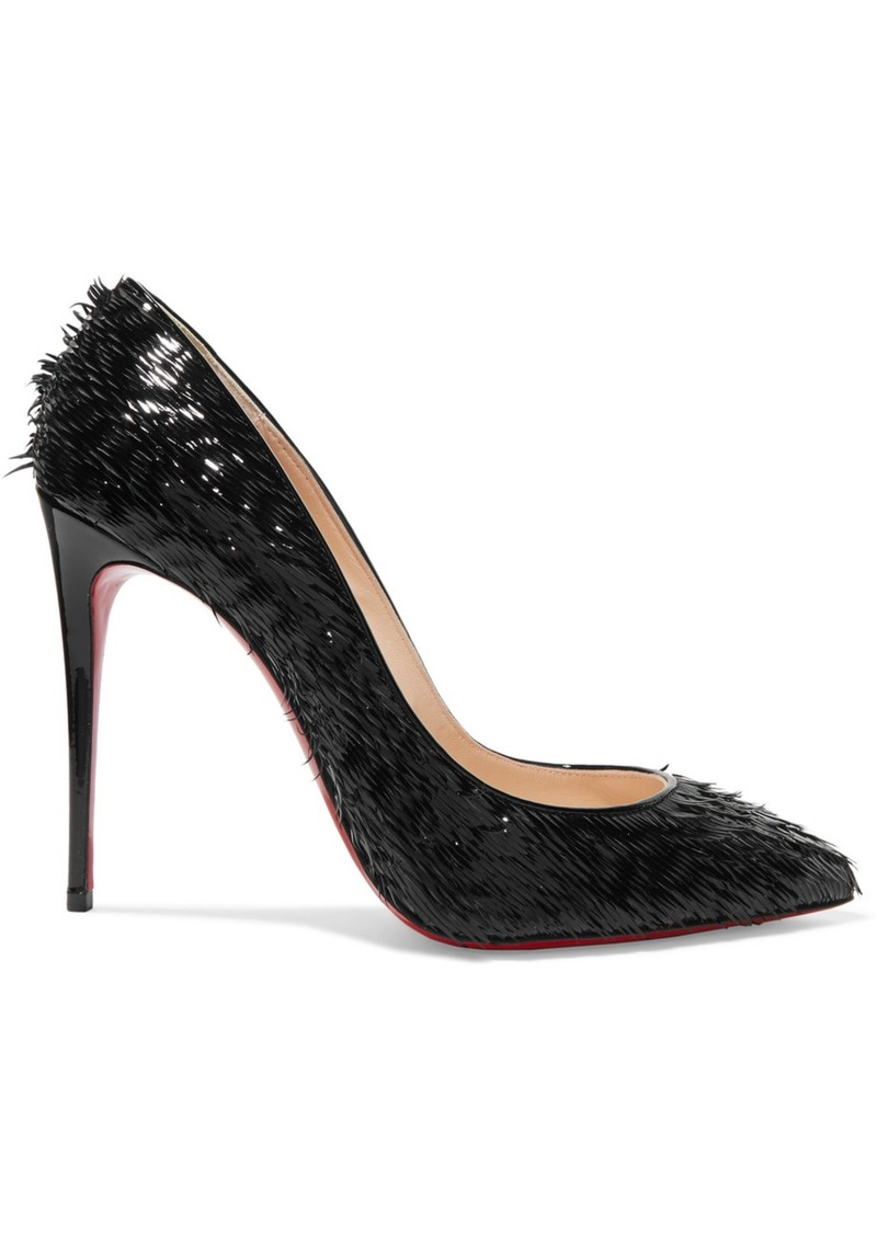 e2204ea0087c1f Christian Louboutin Pigalle Follies 100 Fringed Patent-leather Pumps ...