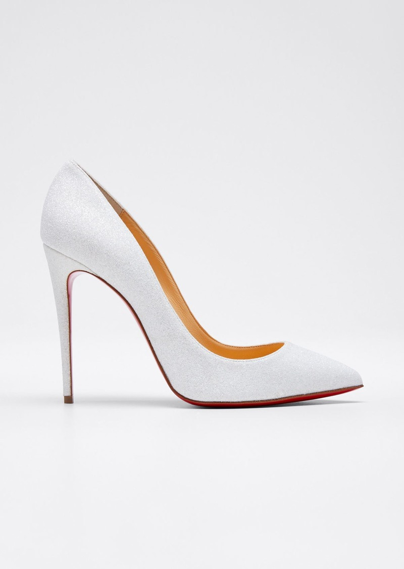 Christian Louboutin Pigalle Follies Glittered Red Sole Pumps  White