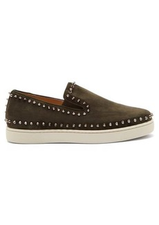 Christian Louboutin Pik Boat spike-embellished slip-on suede trainers