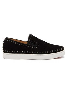 Christian Louboutin Pik Boat spike-embellished suede slip-on trainers