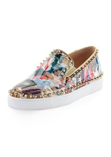 Christian Louboutin Pik Boat Spiked Patent Flat Sneaker