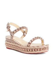 Christian Louboutin Pira Studded Glitter Wedge Sandal (Women)
