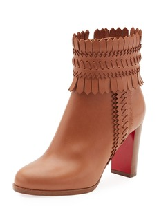Christian Louboutin Pocabootie Woven Fringe Red Sole Bootie