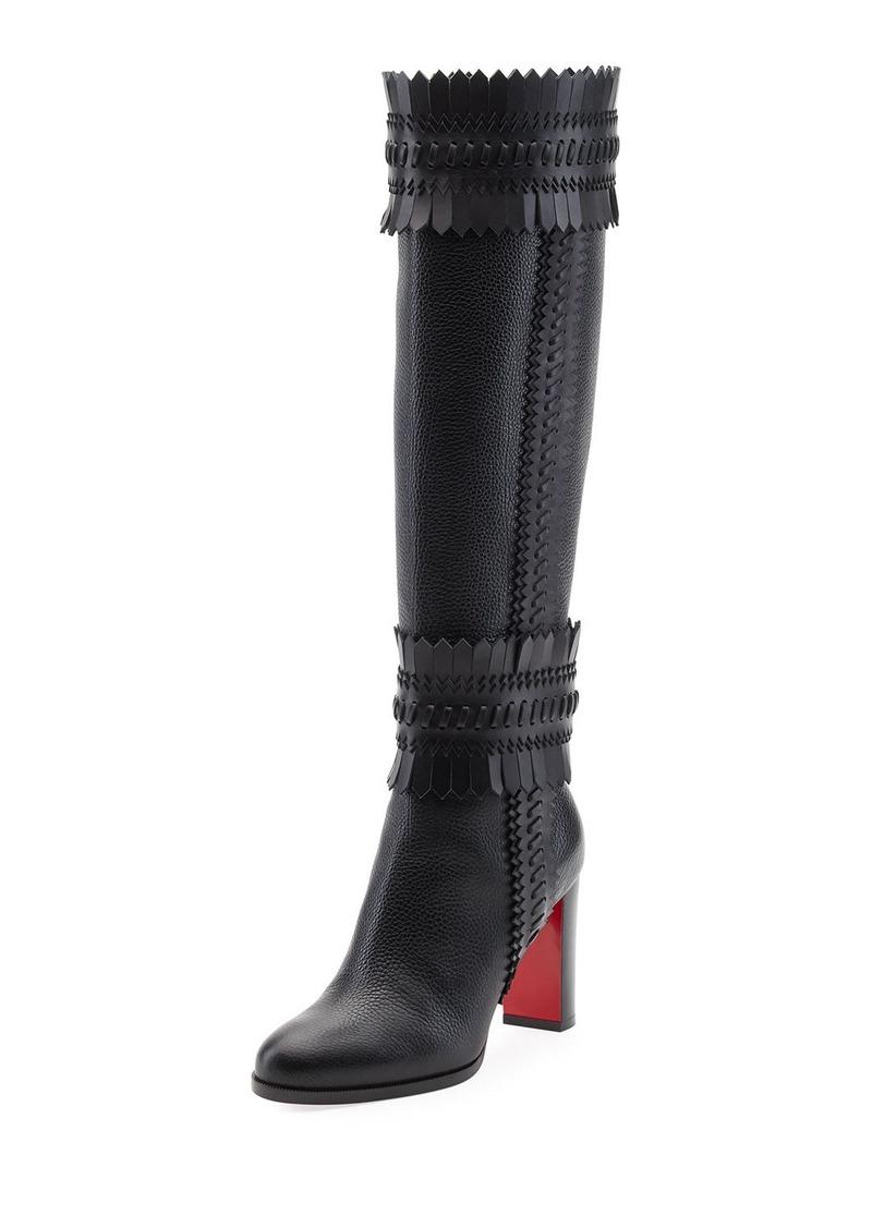 5b83c8019f1 Pocabotta Red Sole Fringe Knee Boot