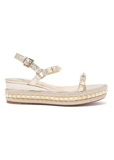 Christian Louboutin Pyraclou 60 metallic-leather flatform sandals