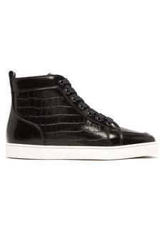 Christian Louboutin Rantus crocodile-effect high-top leather trainers