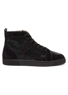 Christian Louboutin Rantus crystal-embellished high-top suede trainers