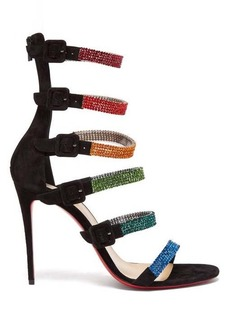 Christian Louboutin Raynibo 100 crystal-embellished suede sandals