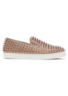 Christian Louboutin Roller-Boat spike-embellished glittered trainers