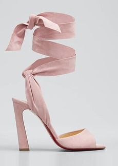 Christian Louboutin Rose Amelie Ankle-Wrap Velour Red Sole Sandals