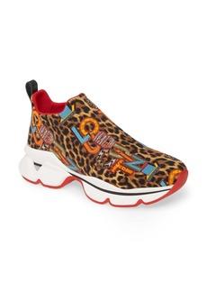 Christian Louboutin Space Run Logo Leopard Print Slip-On Sneaker (Women) (Nordstrom Exclusive)
