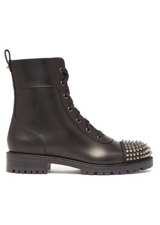 Christian Louboutin Studded-toecap lace-up leather ankle boots
