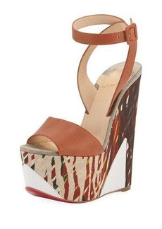 Christian Louboutin Tromploia 160mm Platform Wedge Red Sole Sandal