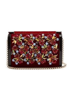 Christian Louboutin Vanite flower-embroidered velvet clutch