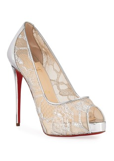 Christian Louboutin Very Lace 120mm Metallic Peep-Toe Red Sole Pumps