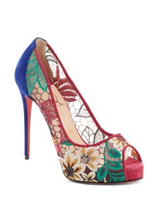 Christian Louboutin Very Lace Floral Peep Toe Pump (Women)