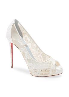 Christian Louboutin Very Lace Peep Toe Platform Pump (Women)