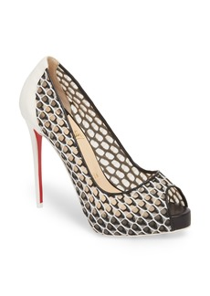 Christian Louboutin Very Lace Peep Toe Pump (Women)