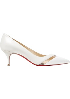 Christian Louboutin Woman 17th Floor 55 Pvc-trimmed Leather Pumps White